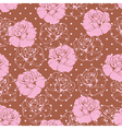 Seamless pink rose pattern on brown background vector