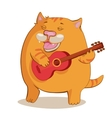 Red cat playing guitar vector