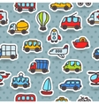Cartoon hand drawn transport seamless pattern vector