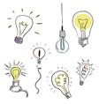 Light bulb set sketchy design vector