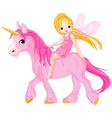 Cute little fairy riding on a unicorn vector