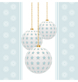 White christmas baubles with blue stars on a blue vector