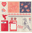 Design elements - vintage roses and birds vector