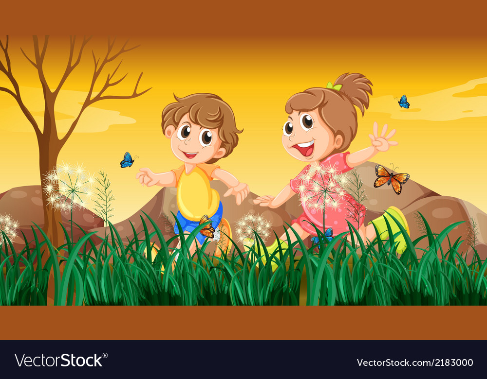A girl and a boy playing with the butterflies vector | Price: 1 Credit (USD $1)