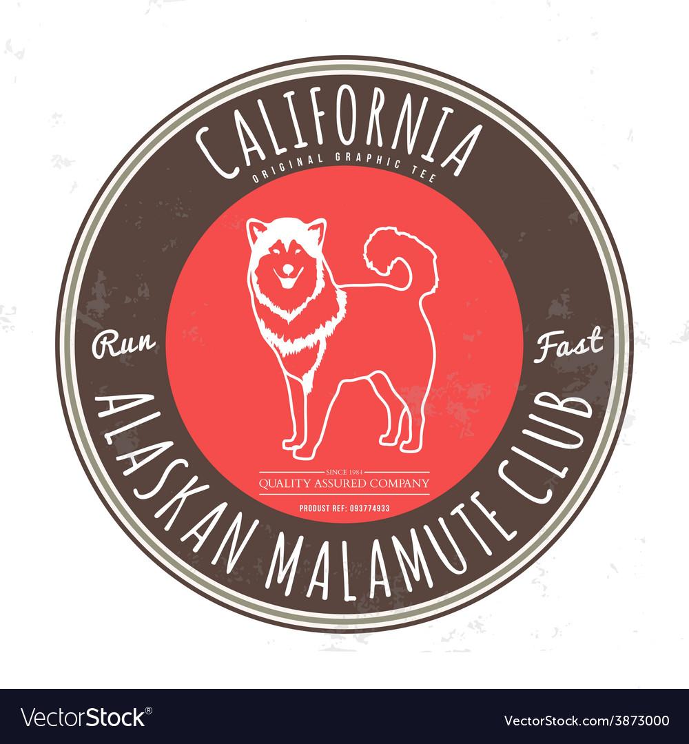 Alaskan malamute club california tee graphic vector | Price: 1 Credit (USD $1)