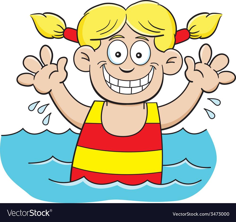 Cartoon girl swimming vector | Price: 1 Credit (USD $1)