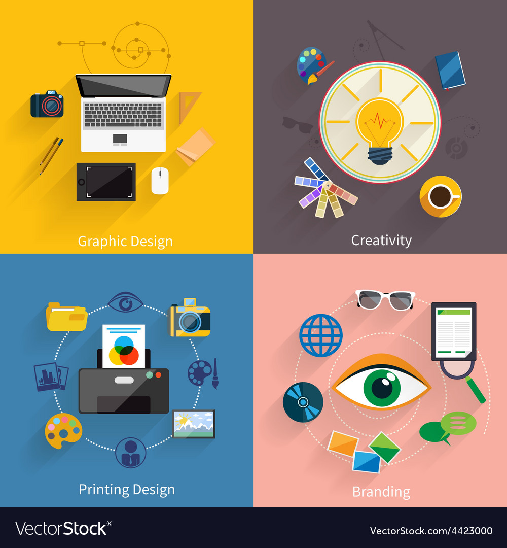 Creative idea branding graphic design icon set vector | Price: 1 Credit (USD $1)