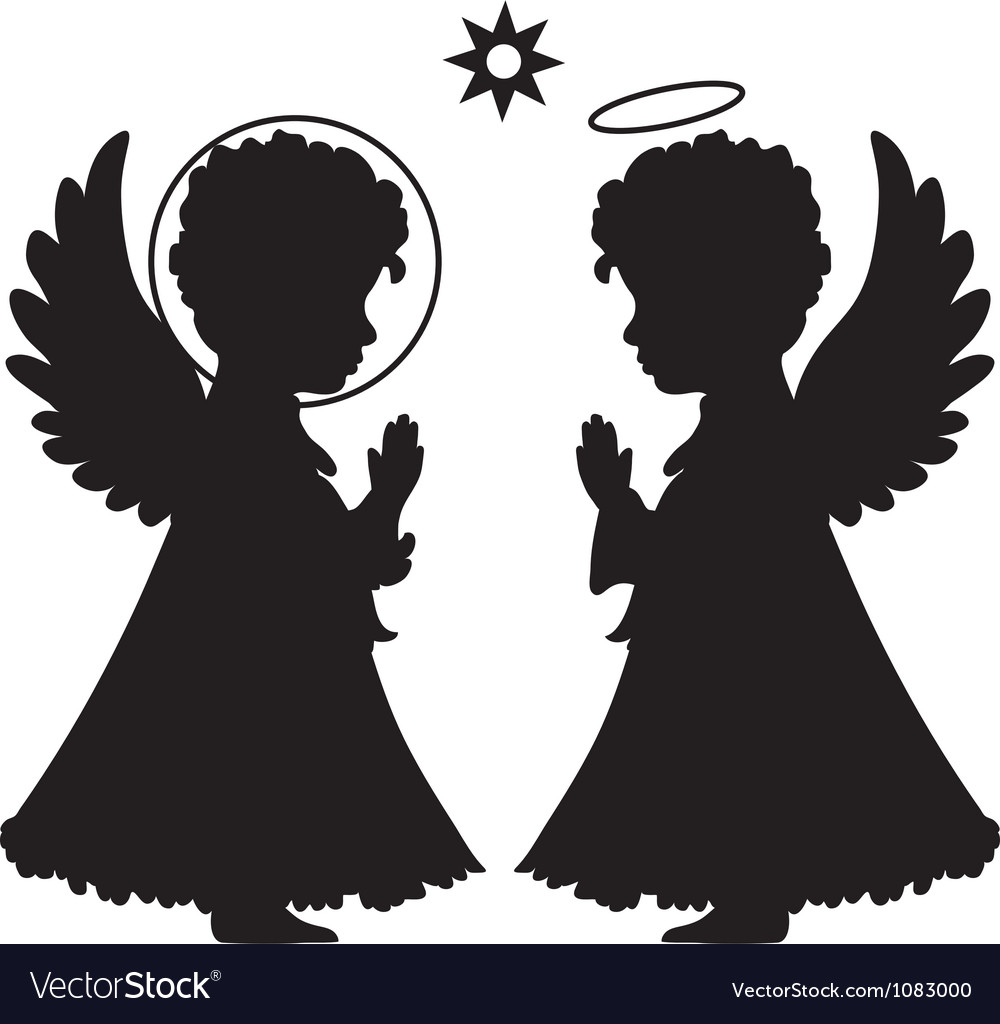 Cute angels silhouettes set vector | Price: 1 Credit (USD $1)