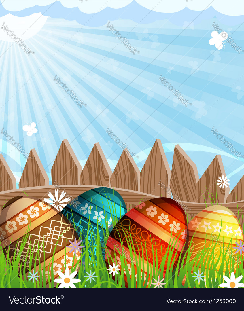 Easter eggs near a wooden fence in the meadow vector   Price: 3 Credit (USD $3)