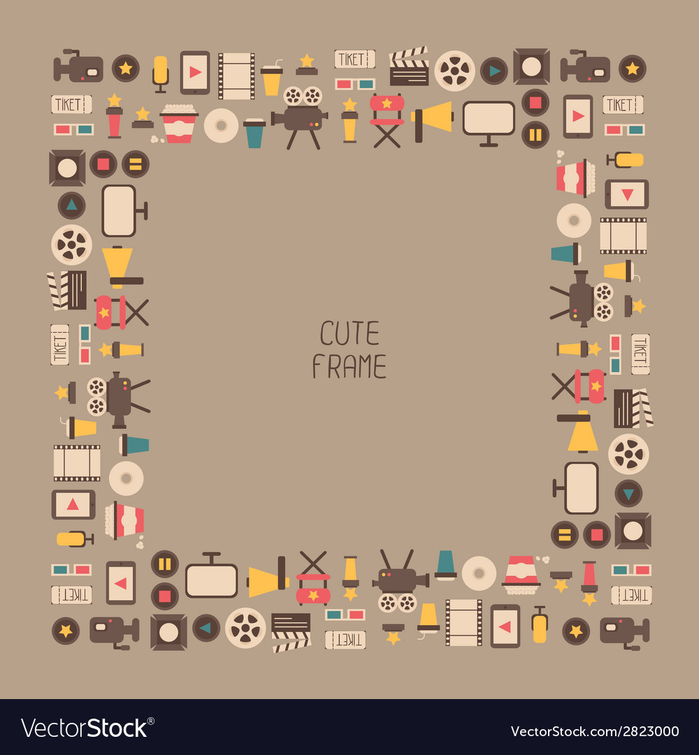 Frame of movie design elements and cinema icons in vector | Price: 1 Credit (USD $1)