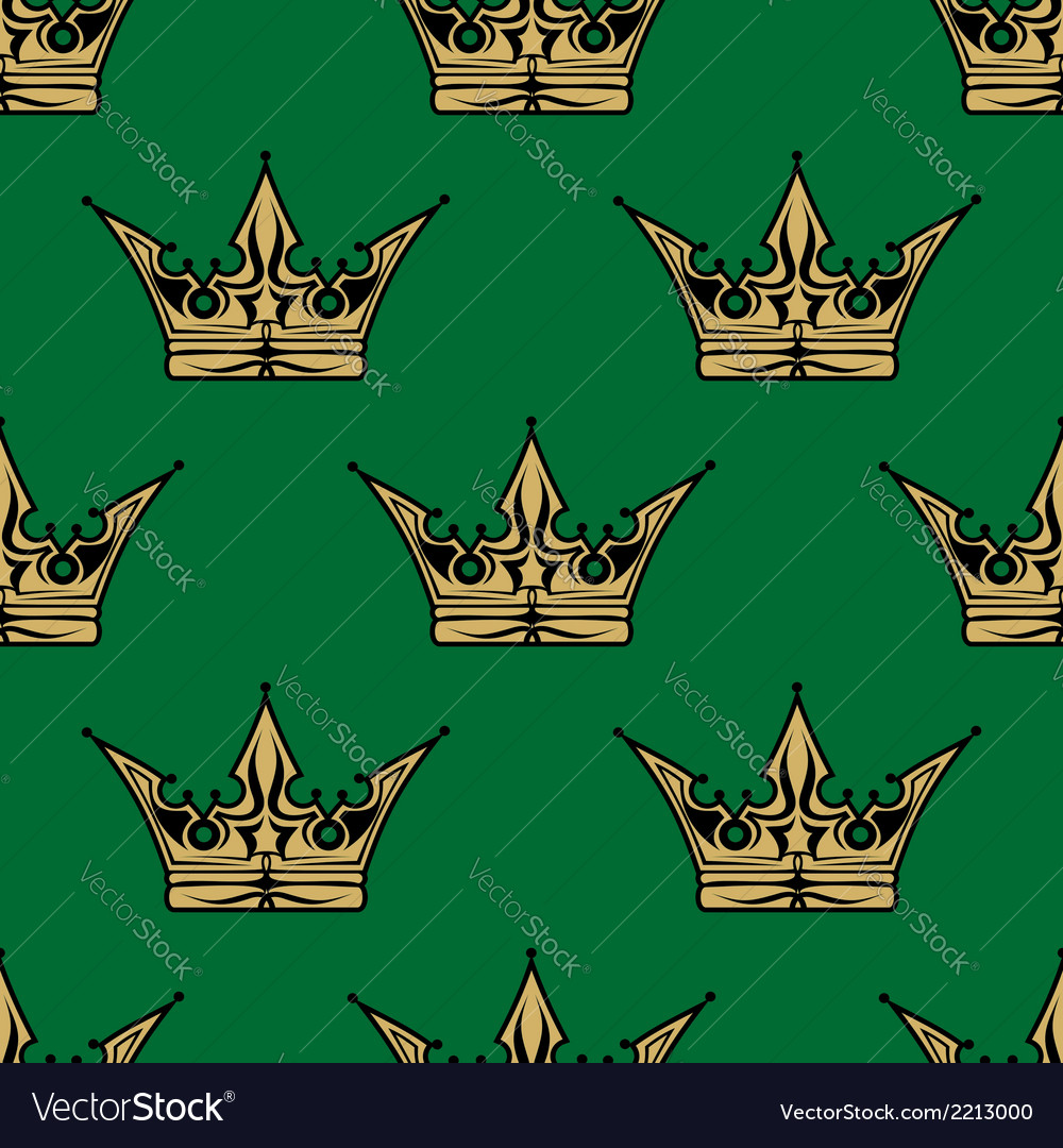 Gold crown on green in a seamless pattern vector | Price: 1 Credit (USD $1)