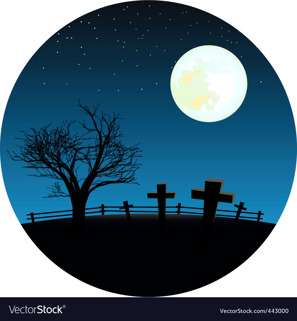 Graveyard with moon vector | Price: 1 Credit (USD $1)