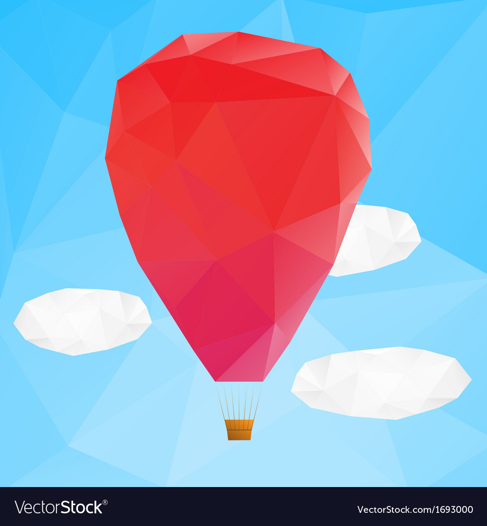 Hot air ballon poplygonal vector | Price: 1 Credit (USD $1)