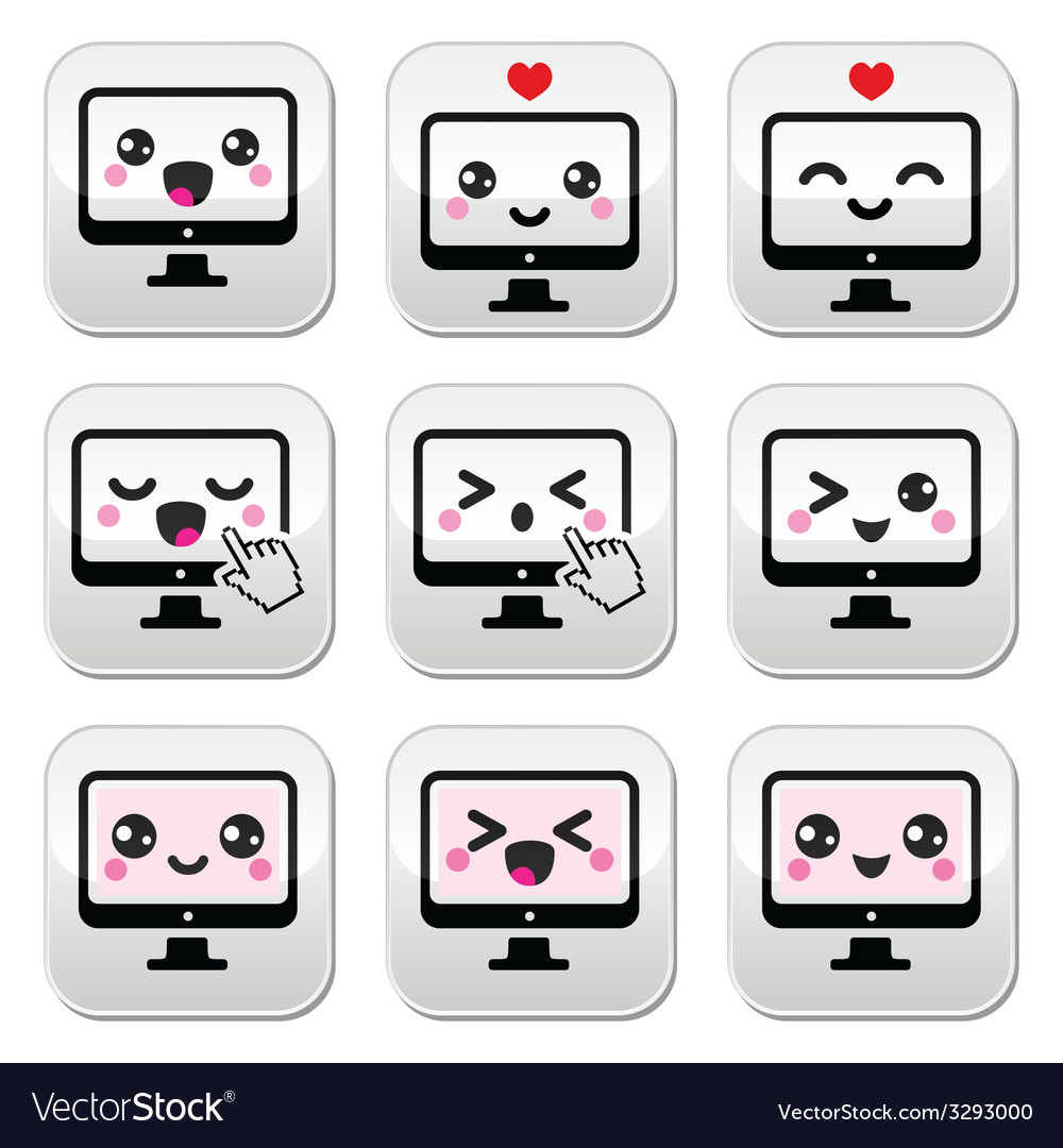 Japanese cute kawaii character - computer buttons vector | Price: 1 Credit (USD $1)