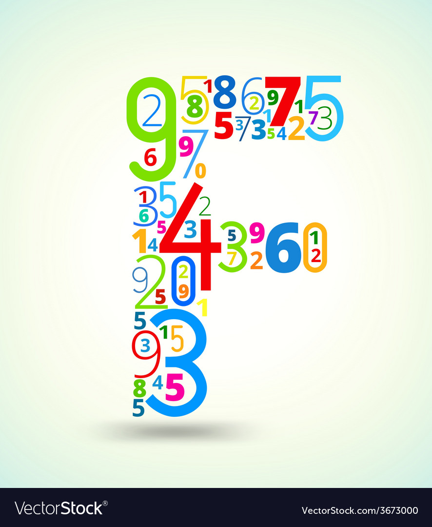 Letter f colored font from numbers vector   Price: 1 Credit (USD $1)