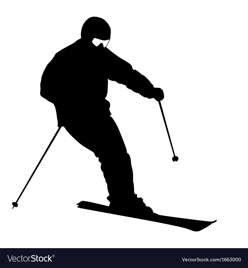 Mountain skier speeding down slope sport vector | Price: 1 Credit (USD $1)