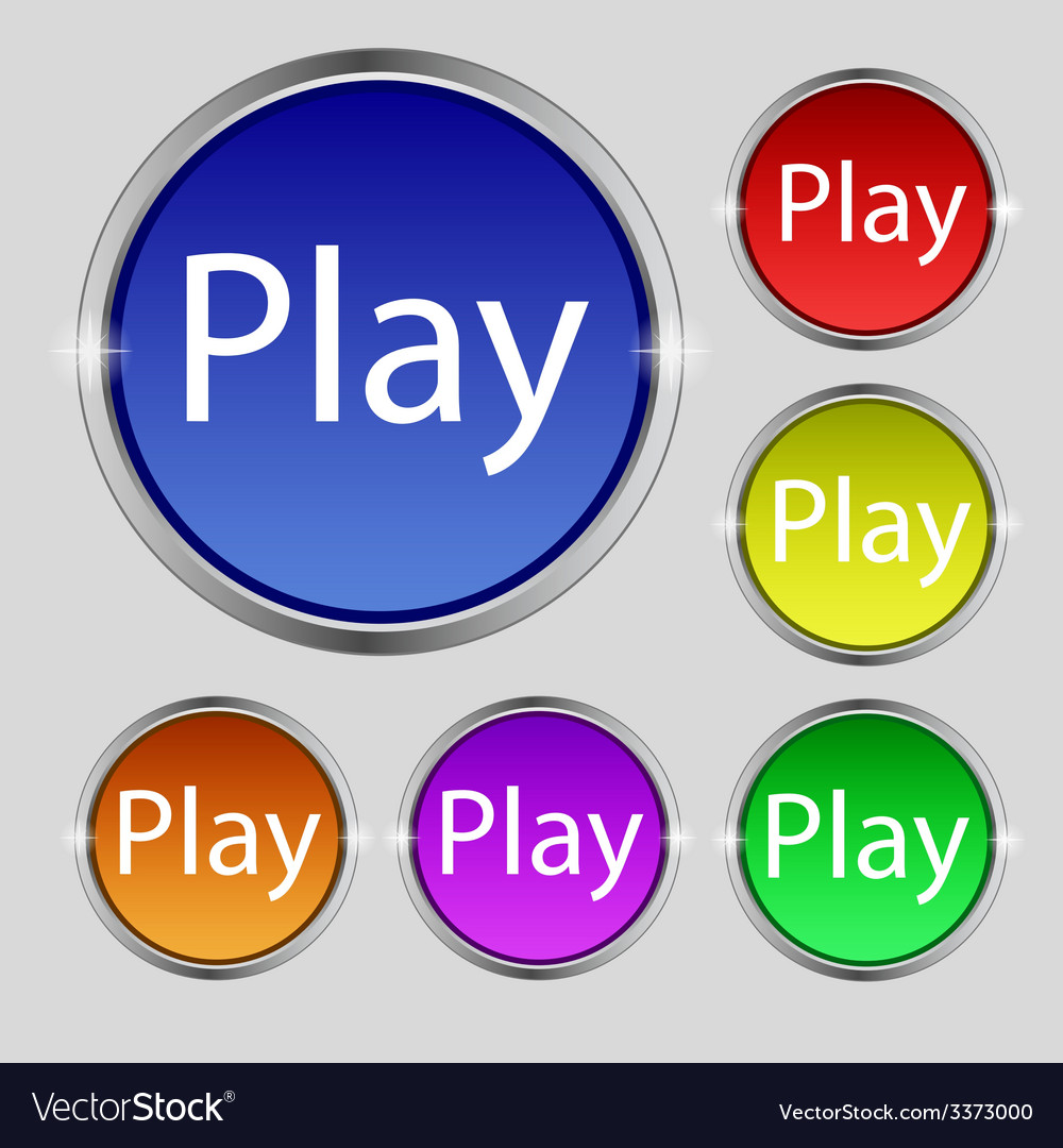Play sign icon symbol set of colored buttons vector | Price: 1 Credit (USD $1)