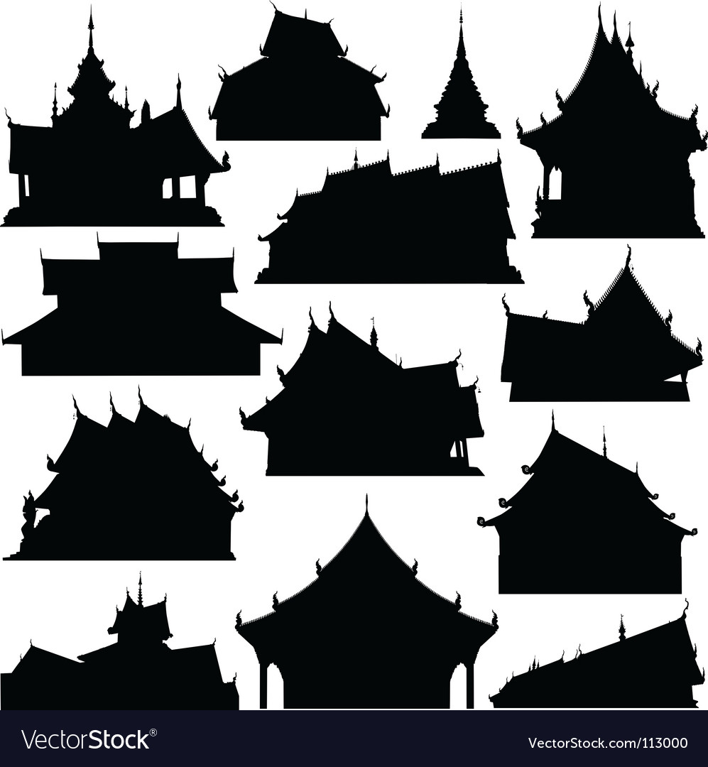 Temple building silhouettes vector | Price: 1 Credit (USD $1)
