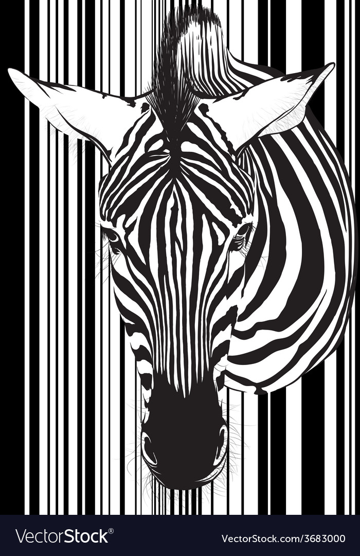 Zebra barcode face and neck vector | Price: 1 Credit (USD $1)