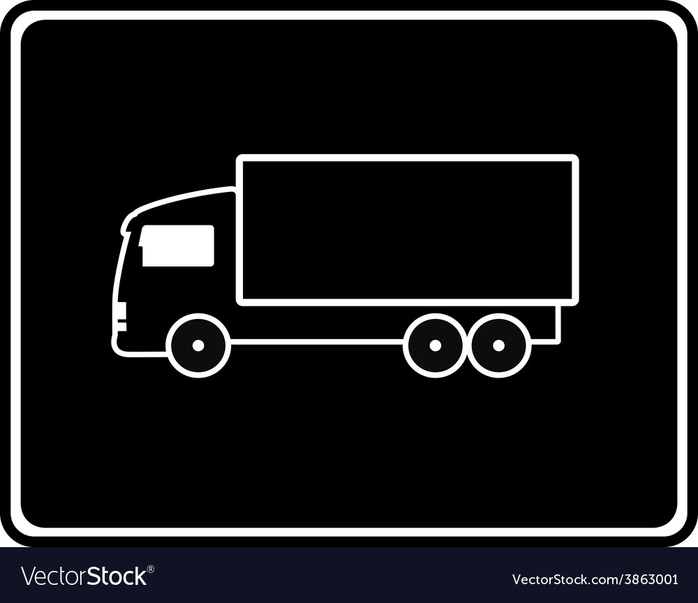 Black icon with shipping truck vector | Price: 1 Credit (USD $1)