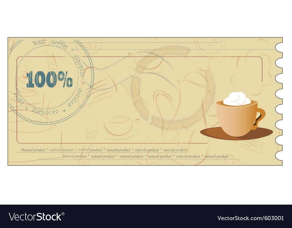Coffee coupon vector | Price: 1 Credit (USD $1)