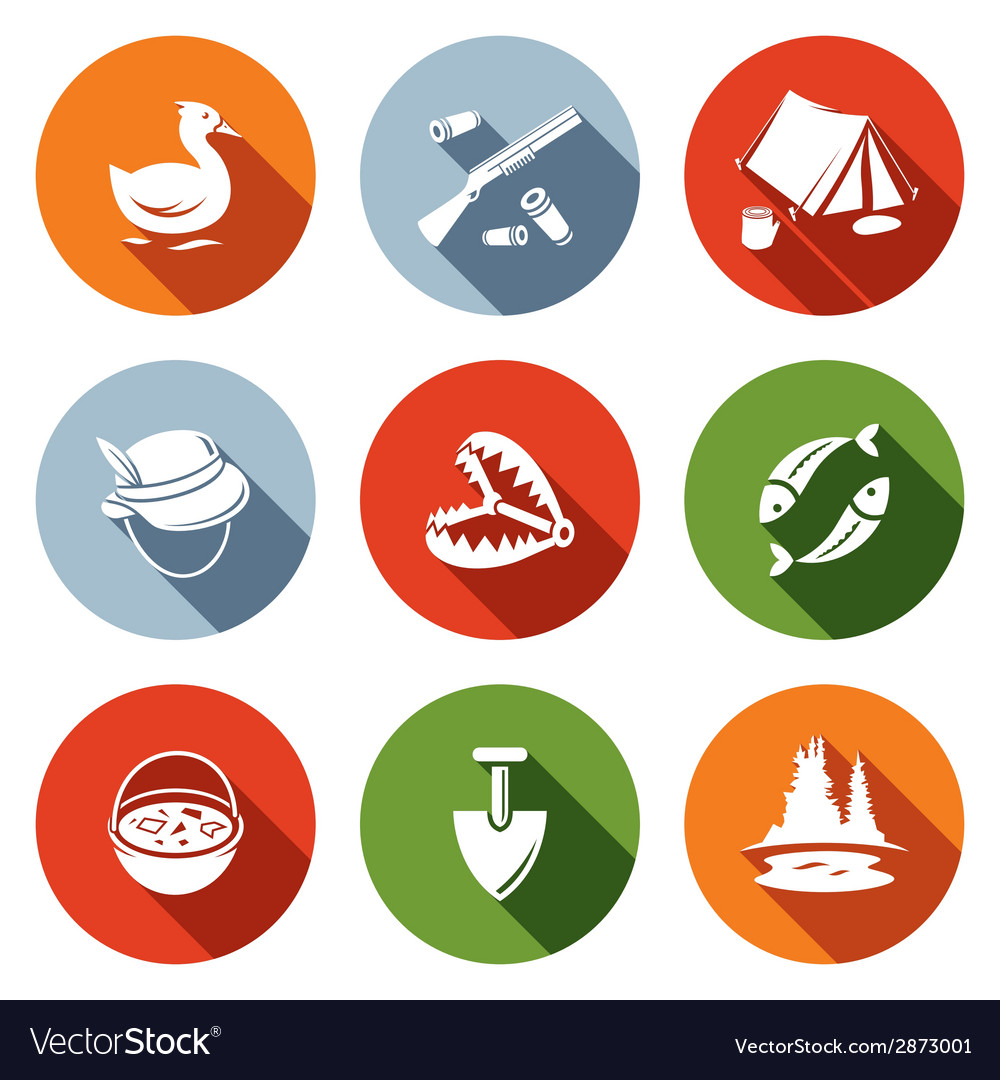 Color hunting and fishing flat icon set vector | Price: 1 Credit (USD $1)