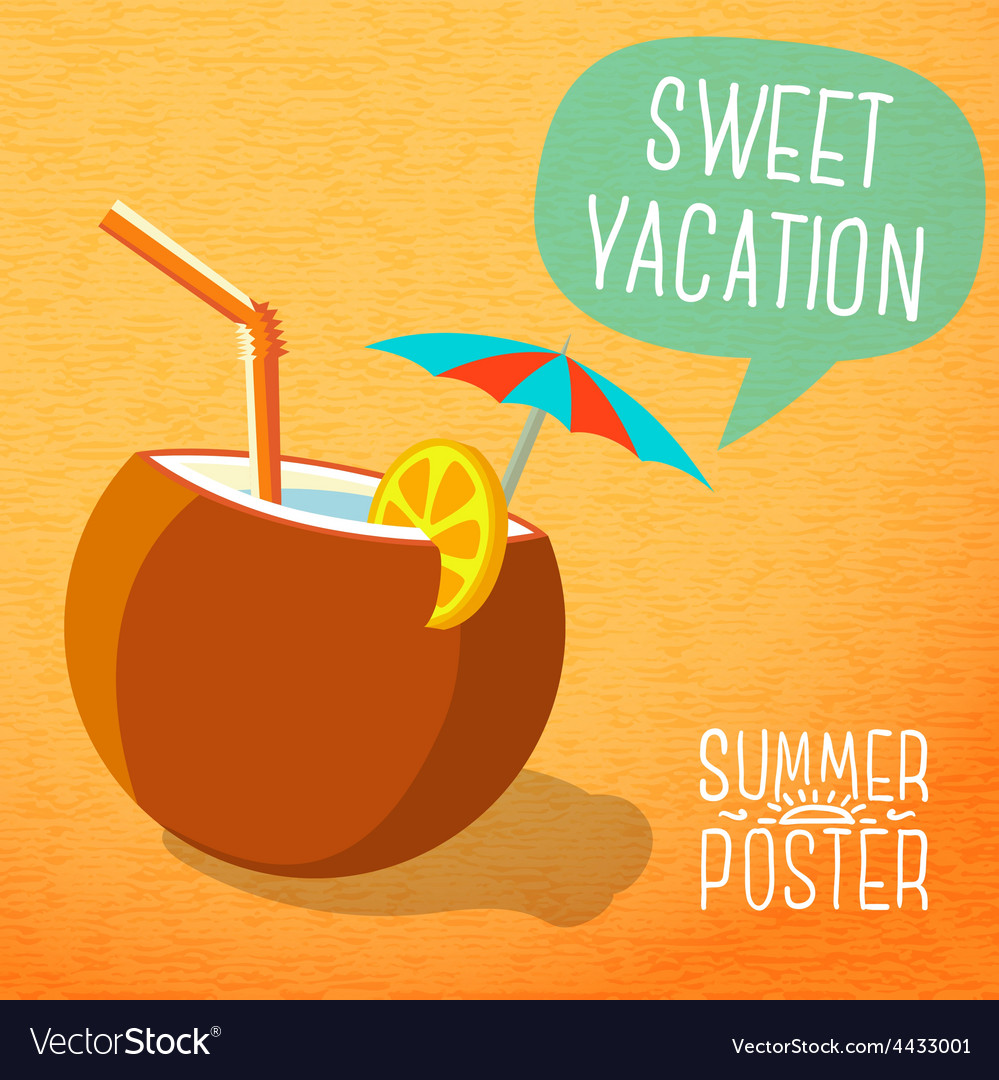 Cute summer poster -beach cocktail in coconut with vector | Price: 3 Credit (USD $3)