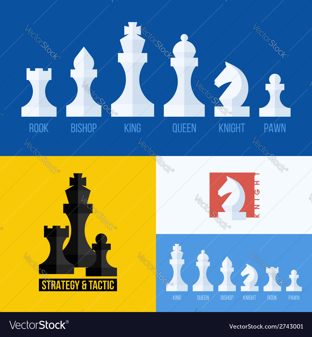 Flat set of chess pieces icons vector | Price: 1 Credit (USD $1)