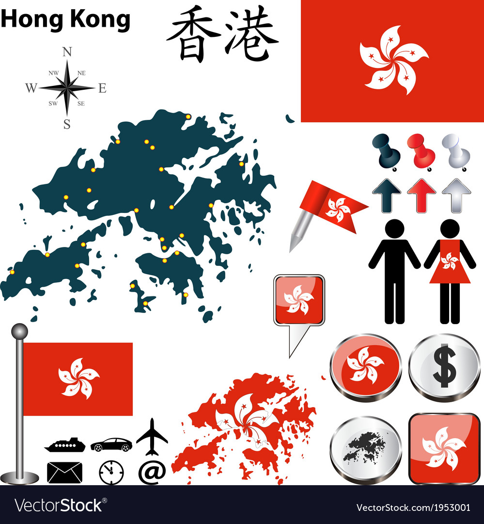 Hong kong map vector | Price: 1 Credit (USD $1)