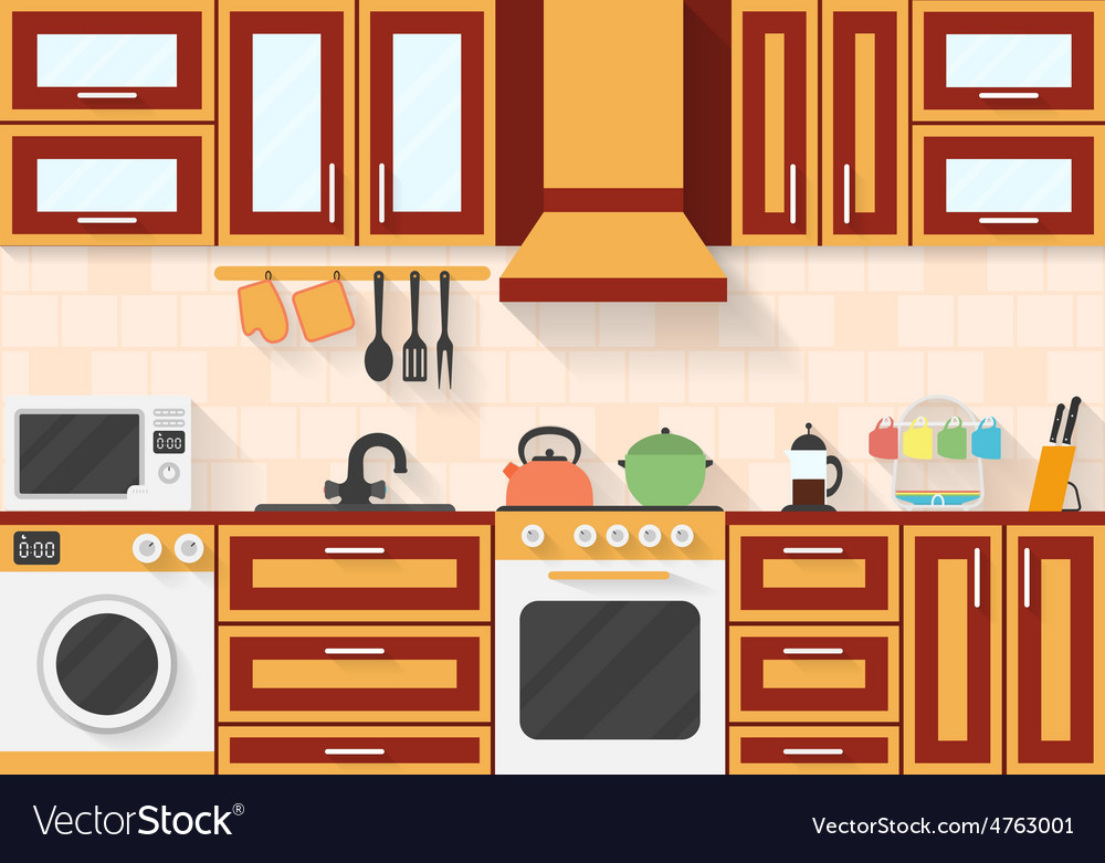 Kitchen with appliances and utensils flat style vector | Price: 1 Credit (USD $1)