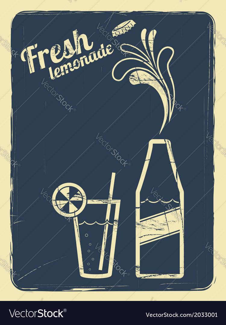 Lemonade retro poster blue vector | Price: 1 Credit (USD $1)
