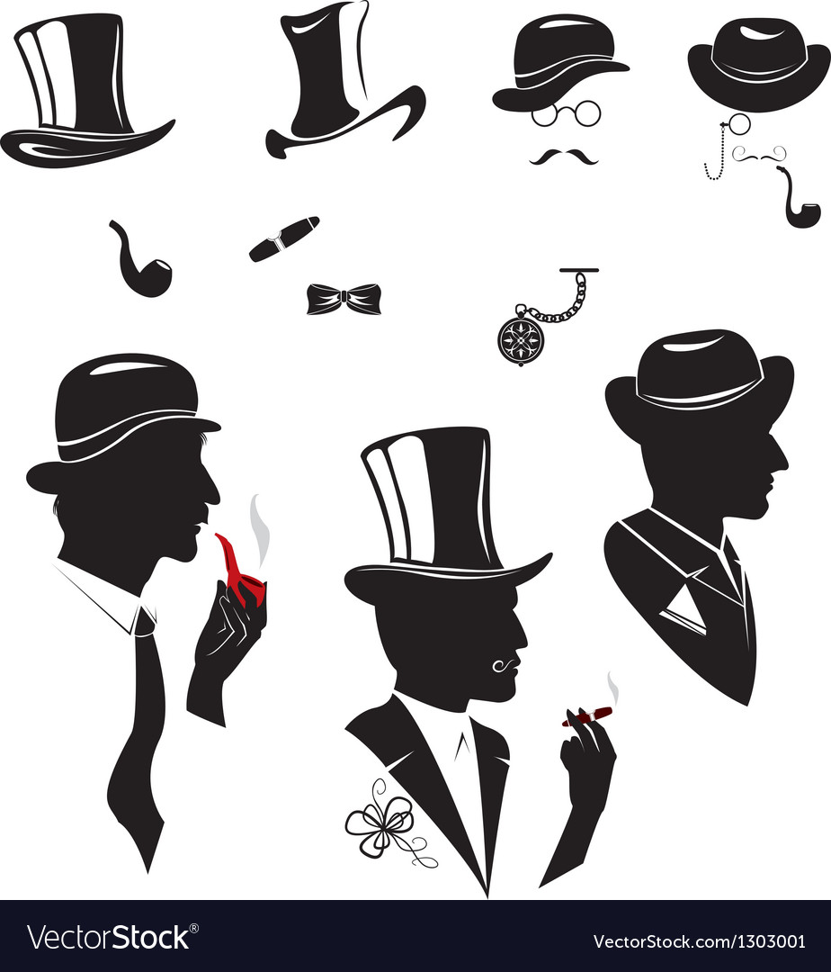Men silhouettes smoking cigar and pipe vector | Price: 1 Credit (USD $1)