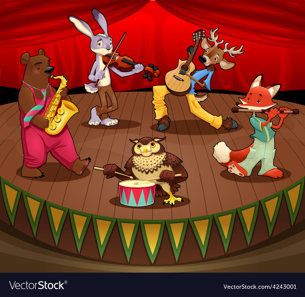 Musician animals on stage vector