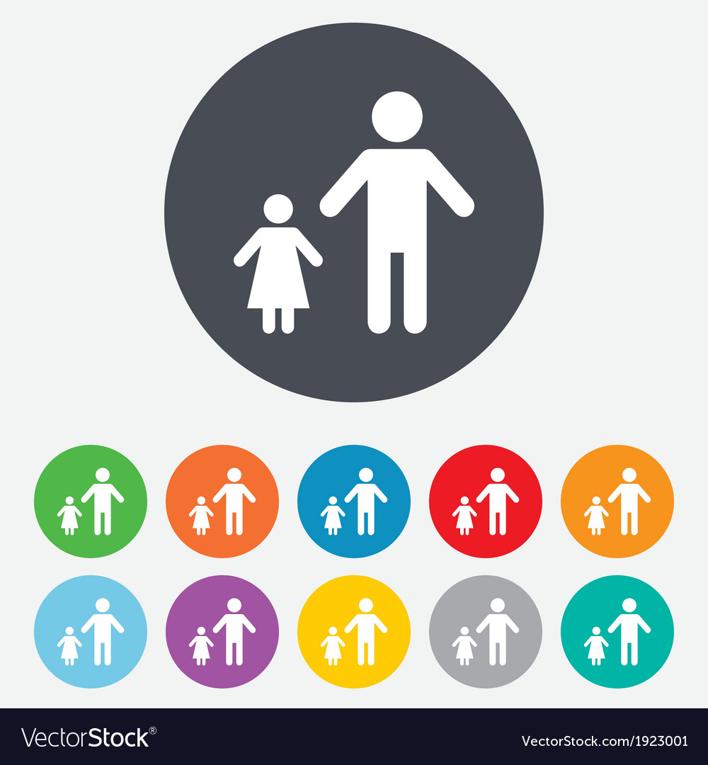 One-parent family with one child sign icon vector | Price: 1 Credit (USD $1)