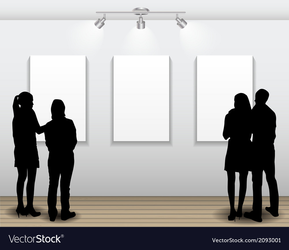 Peoples silhouettes looking on the empty frame in vector   Price: 1 Credit (USD $1)