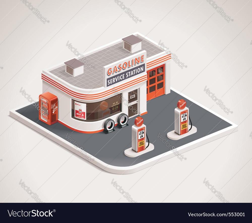 Roadside gas station vector | Price: 5 Credit (USD $5)