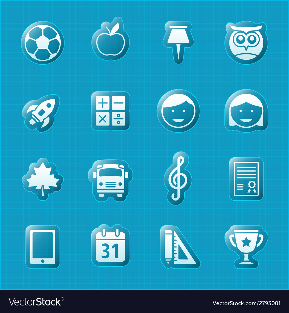 School and education flat design icons set vector   Price: 1 Credit (USD $1)