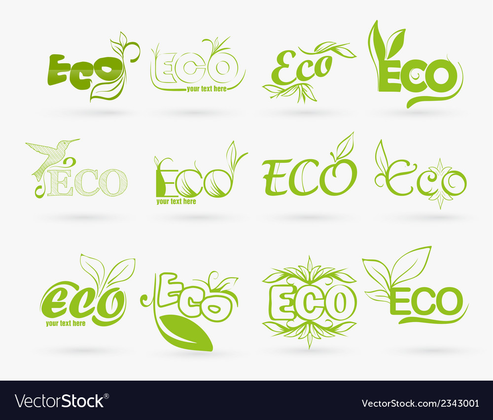 Set of eco icons vector | Price: 1 Credit (USD $1)