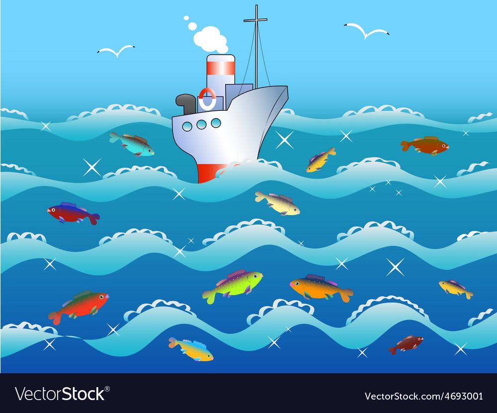 Ship fish in the sea vector | Price: 1 Credit (USD $1)