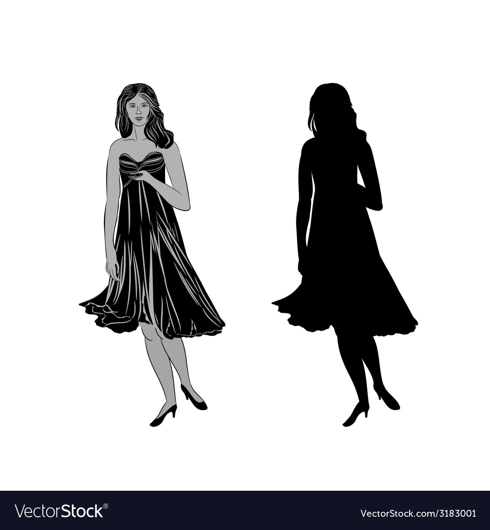 Silhouette of a girl with formal dress vector | Price: 1 Credit (USD $1)