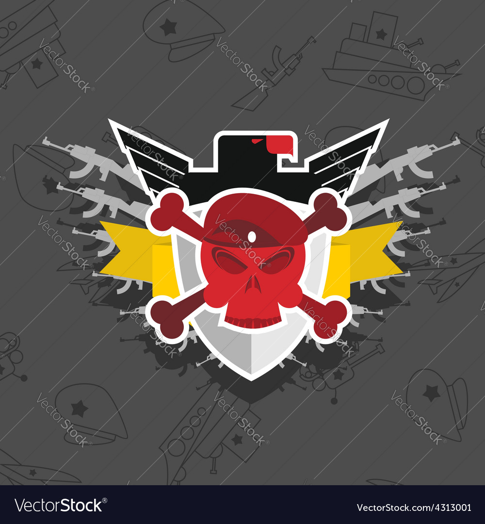 Skull in beret with the eagle war emblem vector | Price: 1 Credit (USD $1)