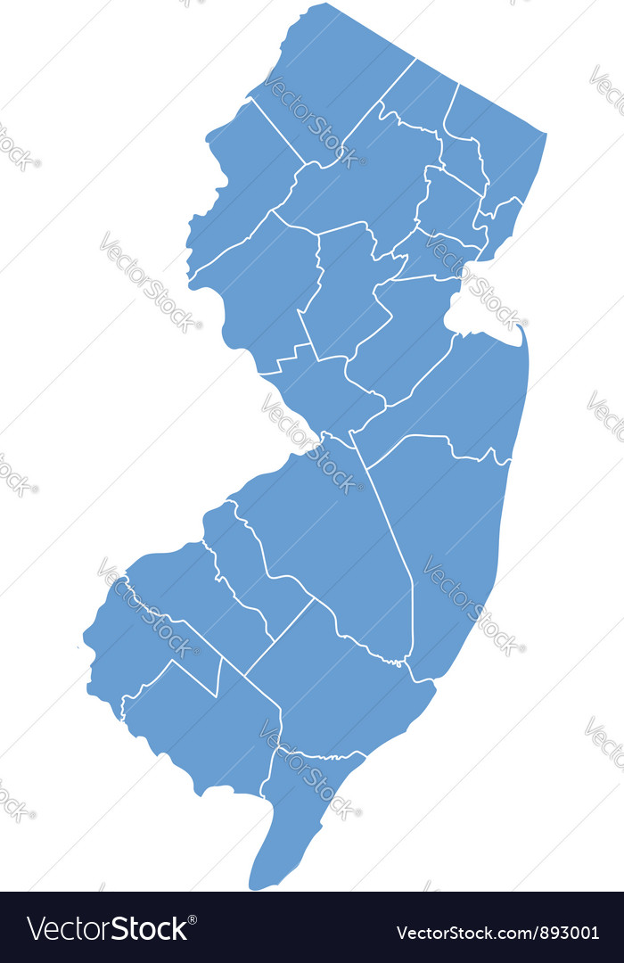 State map of new jersey by counties vector   Price: 1 Credit (USD $1)