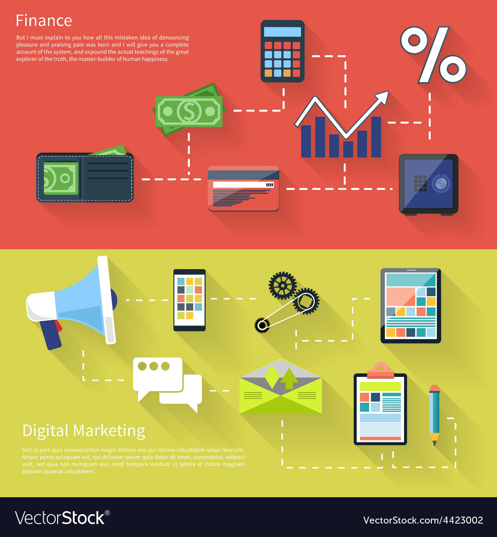 Digital marketing with megaphone and finance vector   Price: 1 Credit (USD $1)