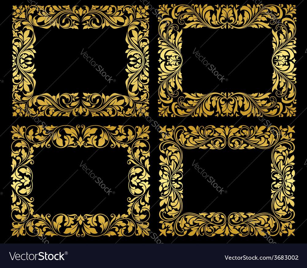 Golden floral frames on black background vector | Price: 1 Credit (USD $1)