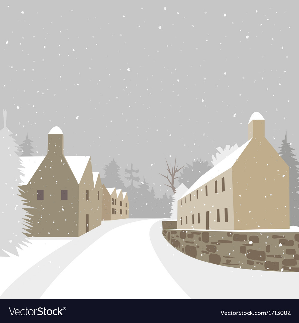 Mountain village winter houses vector | Price: 1 Credit (USD $1)