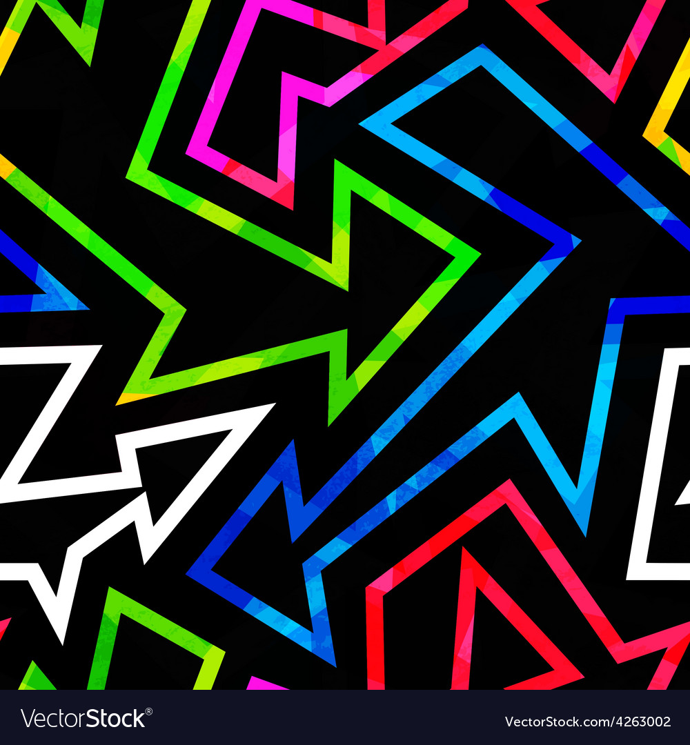 Neon geometric seamless pattern with grunge effect vector | Price: 1 Credit (USD $1)