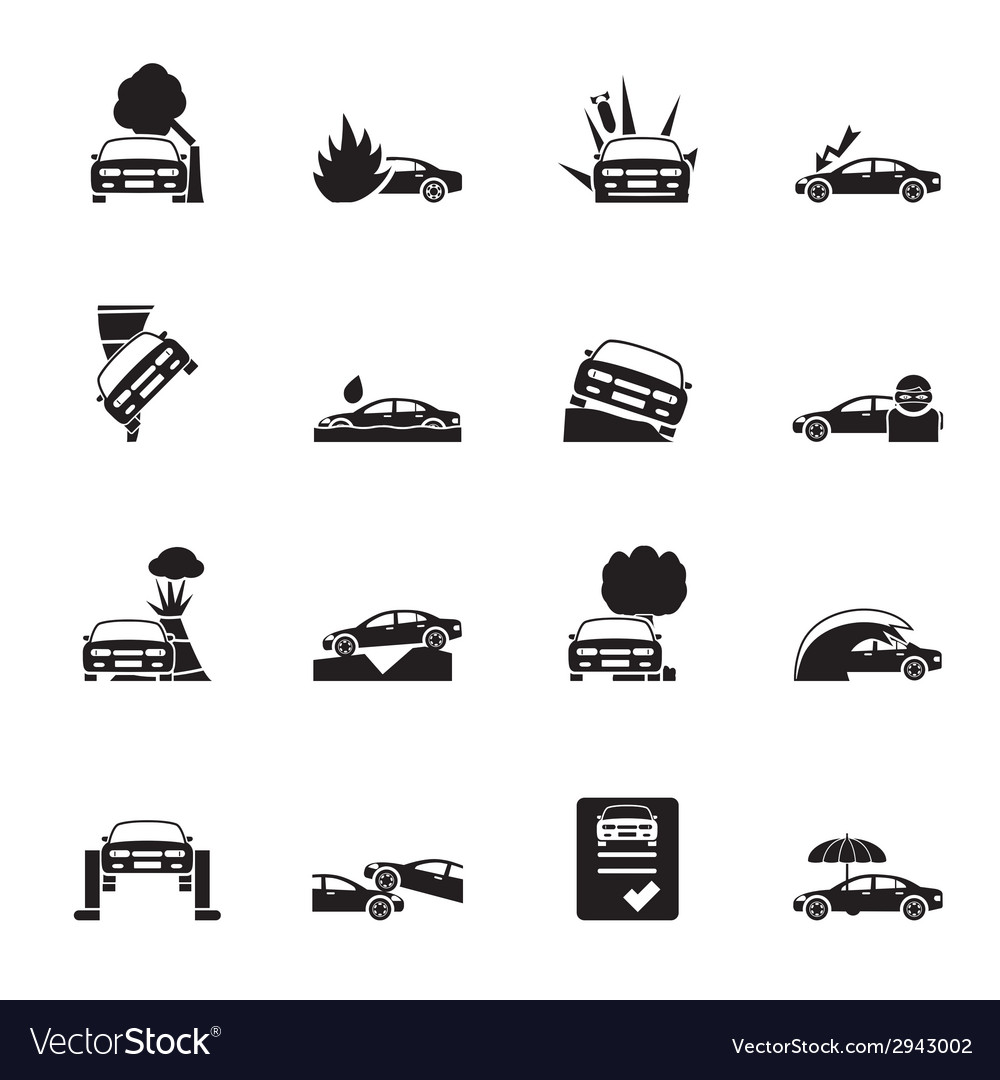 Silhouette transportation insurance and risk icons vector | Price: 1 Credit (USD $1)
