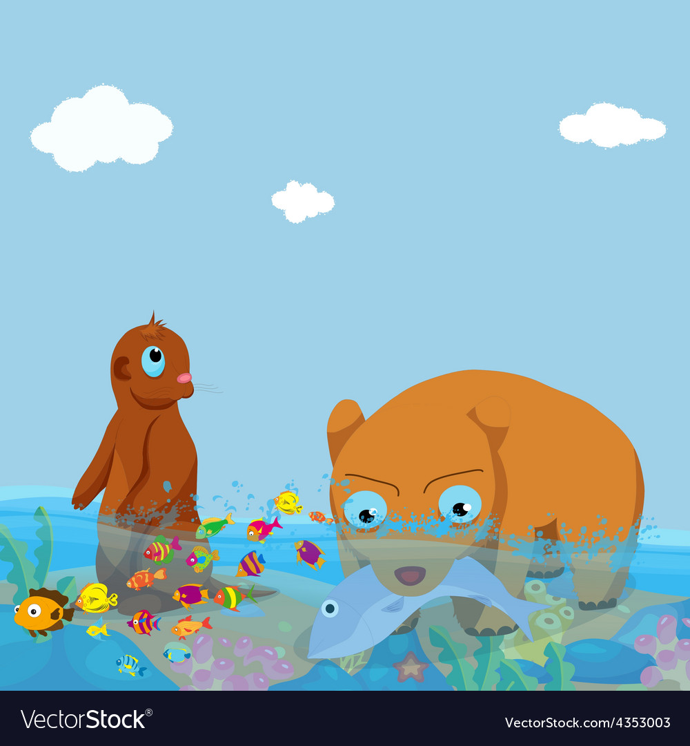 Bears and otter fishing in the sea vector | Price: 3 Credit (USD $3)