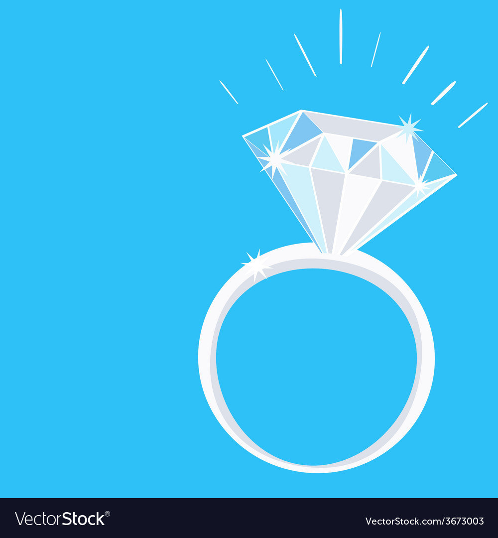 Engagement diamond ring with sparkles on blue vector | Price: 1 Credit (USD $1)