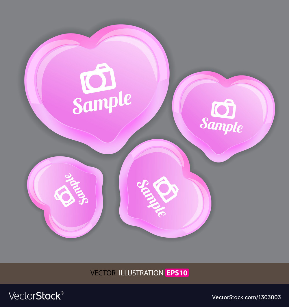 Heart pink with icons vector | Price: 1 Credit (USD $1)